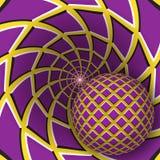 Optische illusieillustratie Een bal beweegt zich op roterende gele achtergrond met purpere vierhoeken stock illustratie
