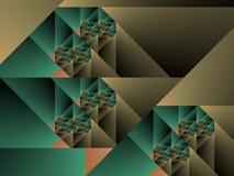 Optische Kubiste Groen Fractal Één van de Kunst en Caqui Royalty-vrije Stock Afbeeldingen