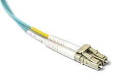 Optische LC-Steckschnür mit weißem Verbinder stockfotografie