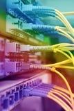 Optische netwerkkabels en servers Stock Afbeelding