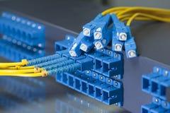 Optische netwerkkabels en servers Royalty-vrije Stock Foto's