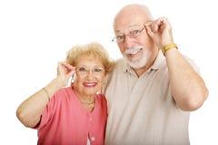Optische Serie - Paare mit Gläsern Lizenzfreies Stockfoto