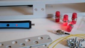 Optische server collector Optische vezel stock video