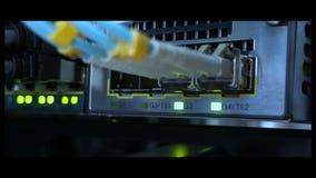 Optische server commutator Opvlammende lichten Optische vezel Scheidt computer in een rek bij groot DA stock video