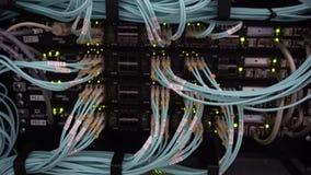 Optische server commutator Opvlammende lichten Optische vezel Scheidt computer in een rek op het grote gegevenscentrum stock footage