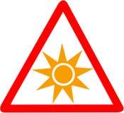 Optische Strahlung, die das rote dreieckige VorsichtVerkehrsschild lokalisiert auf weißem Hintergrund warnt Lizenzfreie Stockfotografie