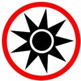 Optische Strahlung, die das rote Kreisverbot-Verkehrsschild lokalisiert auf weißem Hintergrund warnt Lizenzfreies Stockbild