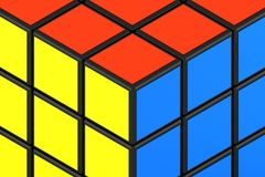 Optische Täuschung, innerhalb oder außerhalb des Rubiks-Würfels? Lizenzfreies Stockbild
