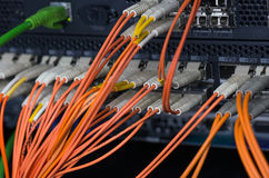 Optische Verbindungen der Faser mit Servern Stockfotografie