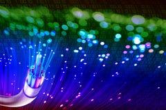 Optische vezel met lichten stock fotografie