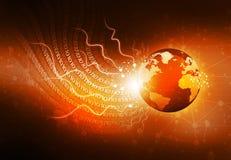 Optische vezels met Aarde stock illustratie