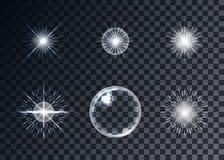 Optischer Aufflackernvektorsatz, transparenter Hintergrund, Schablonen Stockfotografie