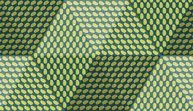 Optischer Bewegungsillusions-Zusammenfassungshintergrund Ellipse kopierte nahtloses Muster in der hexahedral Pyramidenform Stockbild