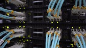 Optischer Server kommutator Blinklichter stock footage