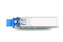 Optisches Gigabit SFP-Modul für den Netzschalter lokalisiert Stockbild
