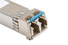 Optisches Modul SFP lokalisiert auf weißem Hintergrund stockfoto