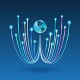Optisk anslutning för fiber för affärskommunikation royaltyfri illustrationer