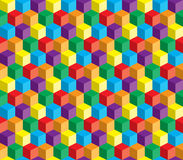Optisk illusion, färgrik abstrakt vektorkub Arkivbild