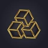 Optisk illusion för vektordiagram/geometriskt kubsymbol för ditt företag i guld Royaltyfri Foto