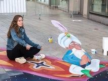 Optisk illusion för gatakonstvisning Royaltyfria Bilder