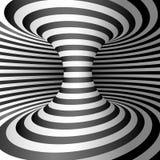 Optisk illusion - maskhål Abstrakt 3d gjorde randig illusion Abstrakt maskhåltunnel Design av bakgrund för optisk illusion stock illustrationer