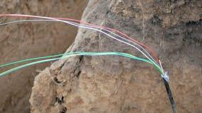 Optisk kabel för fiber stock video