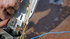 Optisk kabel för kopplingsfiber stock video