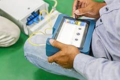 Optisk provning för fiber Royaltyfri Foto