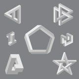 Optiska illusionsymboler. Vektorillustration. royaltyfri illustrationer