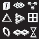 Optiska illusionsymboler. Vektorillustration. stock illustrationer