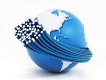 Optiska kablar för fiber runtom i världen som isoleras på vit bakgrund illustration 3d vektor illustrationer