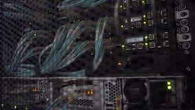 Optiska kablar i kuggekabinett, UTP kablar från en lapppanel i det Datacenter rummet arkivfilmer