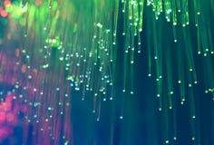Optiska nätverkskablar och serveror Arkivbild