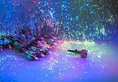 Optiska nätverkskablar och serveror Royaltyfri Bild