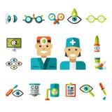 Optiska symboler, oftalmologisymbolsuppsättning vektor illustrationer