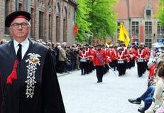 Optocht van het Heilige Bloed, Brugge, België Royalty-vrije Stock Foto's
