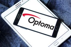 Optoma Corporation logo. Logo of Optoma Corporation on samsung mobile. Optoma Corporation is a multi-national audio and visual solutions provider Stock Photo