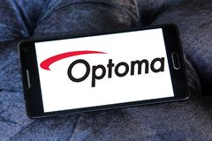 Optoma Corporation logo. Logo of Optoma Corporation on samsung mobile. Optoma Corporation is a multi-national audio and visual solutions provider Royalty Free Stock Photo