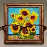 optometrie Grafisch concept zicht door glazen als phot stock afbeelding