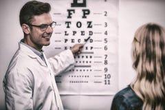 Optometriker som tar ögonprovet av den kvinnliga patienten royaltyfria bilder