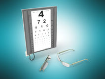 The optometrist board 3d render on a blue background Stock Photos