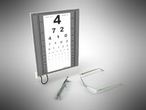 The optometrist board 3d render on a gray background Royalty Free Stock Photos