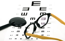 Optometrist chart and glasses Royalty Free Stock Images