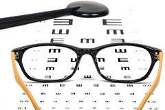 Optometrist chart and glasses Stock Photography