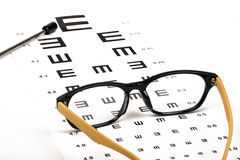 Optometrist chart and glasses Stock Images