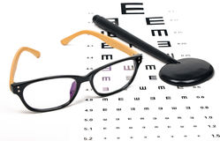Optometrist chart and glasses Royalty Free Stock Image