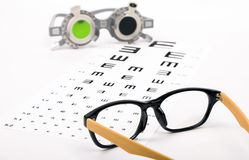 Optometrist chart and glasses Royalty Free Stock Photo