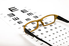 Optometrist chart and glasses Royalty Free Stock Photos