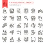 Optometrist Elements. Thin Line and Pixel Perfect Icons Stock Photography