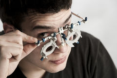 Optometrist exam Stock Images